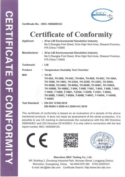 Chine Xi'An LIB Environmental Simulation Industry certifications